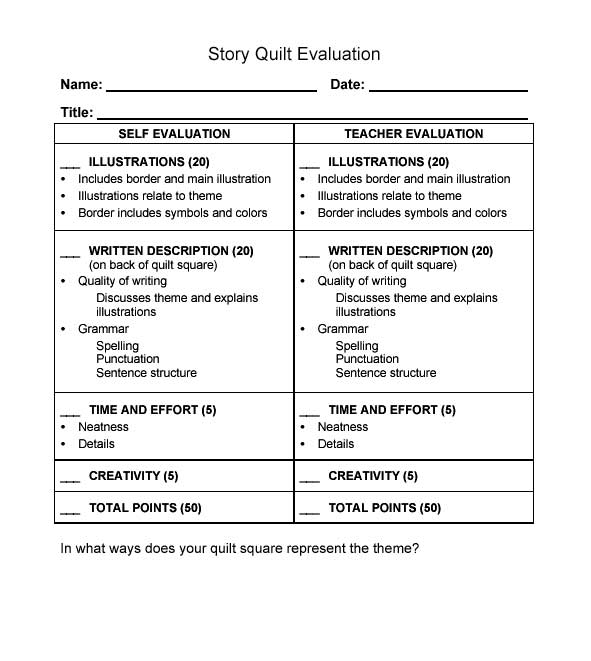 Story Quilt Evaluation Form - teaching evaluation form