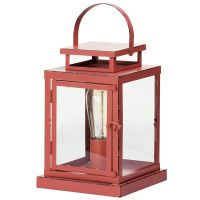 1 Light Vintage Lantern Table Lamp - Red From Litecraft