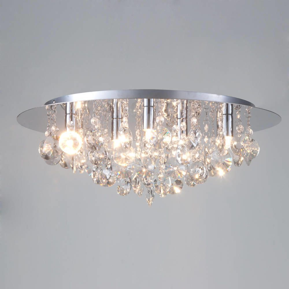 Montego Flush Ceiling Light Crystal Effect
