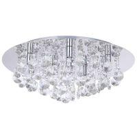 Montego Flush Ceiling Light Crystal Effect - 9 Light - Chrome