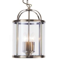 Lantern Pendant Light - 3 Light Hall Antique Brass from ...