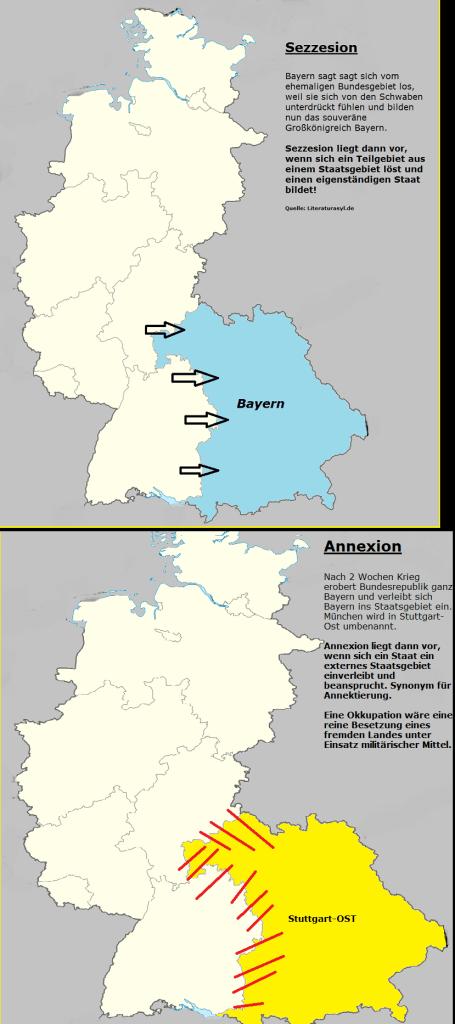 Sezession - Gebietsablösung - Annexion - Gebietsübernahme