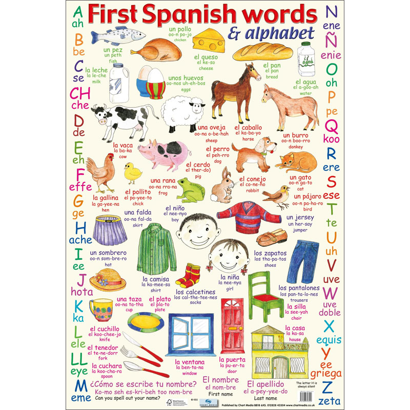 First Spanish Words  Alphabet Poster by ChartMedia ISBN - alphabet in spanish