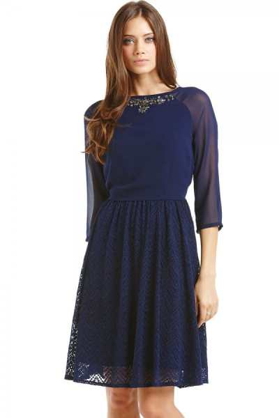 Navy Chiffon and Lace 2 in 1 Embellished Dress