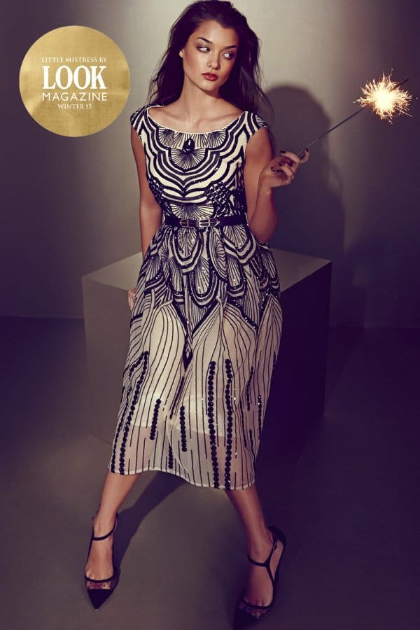 Little Mistress by Look Heavily Embellished Gold and Black Midi Dress