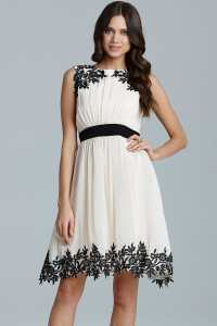 Cream Floral Applique Chiffon Prom Dress - from Little ...