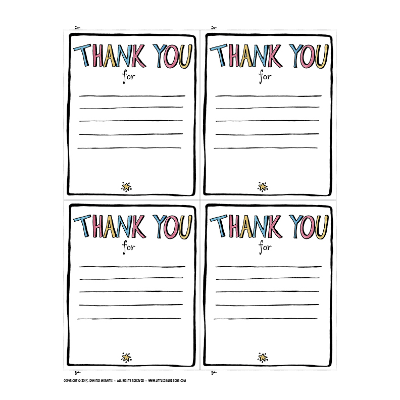 Thank You Printable - Jennie Moraitis