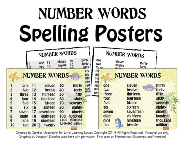 Number Words Spelling Posters Set Subscriber Freebie! - Little