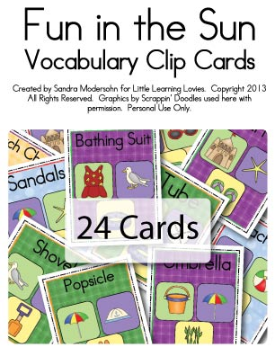 Fun in the Sun - Vocabulary Clip Cards - Little Learning Lovies - vocab cards