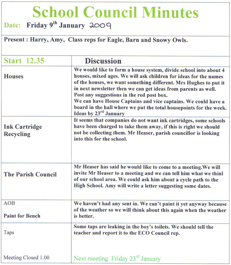 Agendas and Minutes Little Melton Primary School - school agenda template