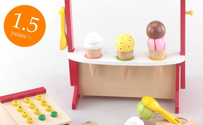 Wooden Toys Ice Cream Shop With Cashier Counter Unisex