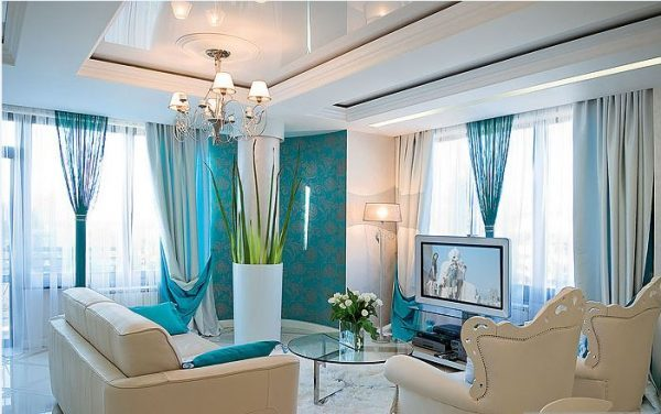 Turquoise window curtains in home decor - LittlePieceOfMe - turquoise curtains for living room