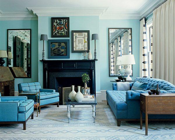 Turquoise living room decor