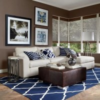 Blue and brown living room decor