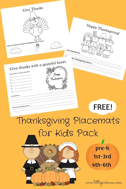 Thanksgiving Placemats Color Sheets Free Printable Little Pink Casa