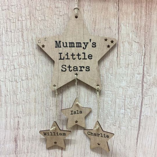Family Tree Gift Rustic Wooden Star Plaque Mum, Dad, Nanny ANY - family relation tree