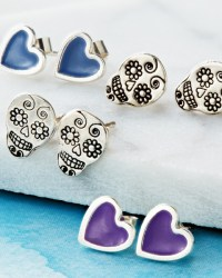 Sugar Skull Stud Earrings | Little Silver Star Website