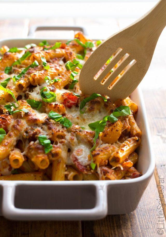 Spicy Baked Caprese Pasta 13