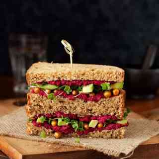 Beet Hummous Roasted Chickpea Avocado Sandwich