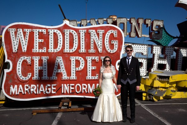 Neon Museum Wedding Photo | Ryan Jackson Photography