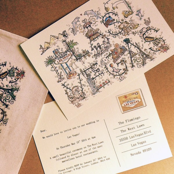 Handrawn Vegas Wedding Invitation | Little Vegas Wedding