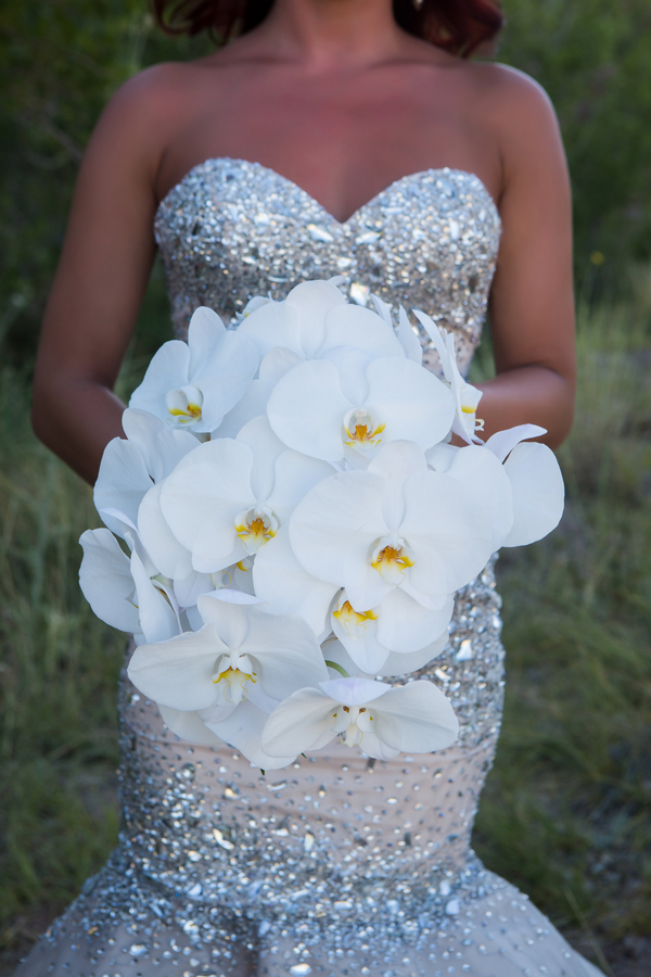 Orchid Bouquet at Calico Basin | Little Vegas Wedding