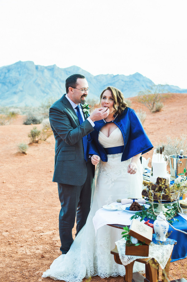 Beautiful desert elopement near Las Vegas in the Valley of Fire from Cactus and Lace Weddings.