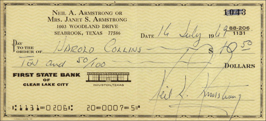 Check signed by reclusive astronaut Neil Armstrong in July 15 online