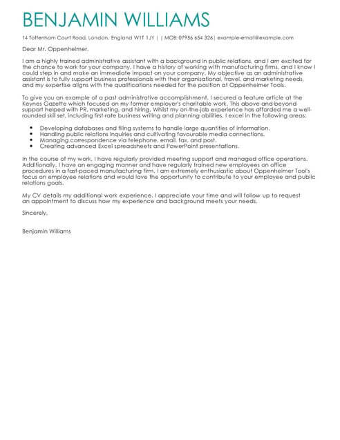 Administrative Assistant Cover Letter Examples for Admin LiveCareer - sample cover letter for executive istant job
