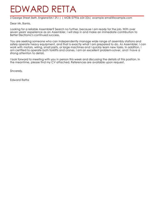Assembler Cover Letter Template Cover Letter Templates  Examples - cover letter attention to