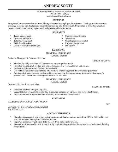 Customer Service CV Templates CV Samples  Examples