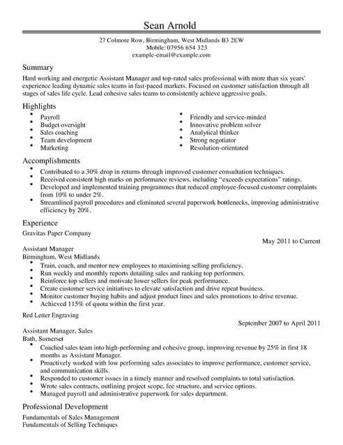 Sales Assistant Manager CV Template CV Samples  Examples
