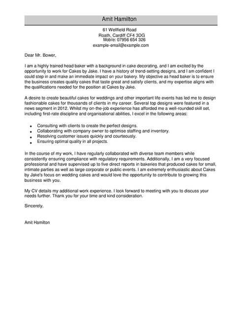 Baker Cover Letter Examples for Restaurant Bar LiveCareer