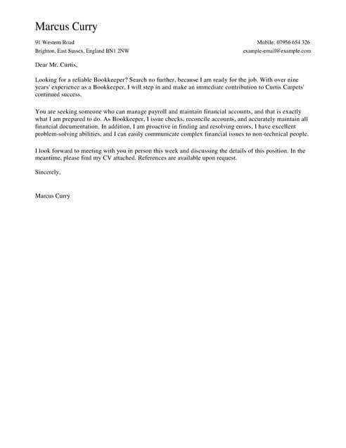 Bookkeeper Cover Letter Template Cover Letter Templates  Examples