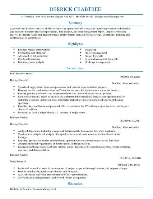 Business Analyst CV Template CV Samples  Examples