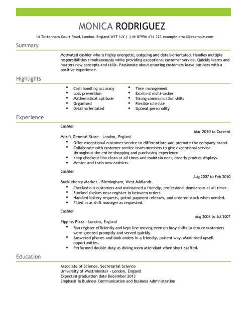 Cashier CV Template CV Samples  Examples