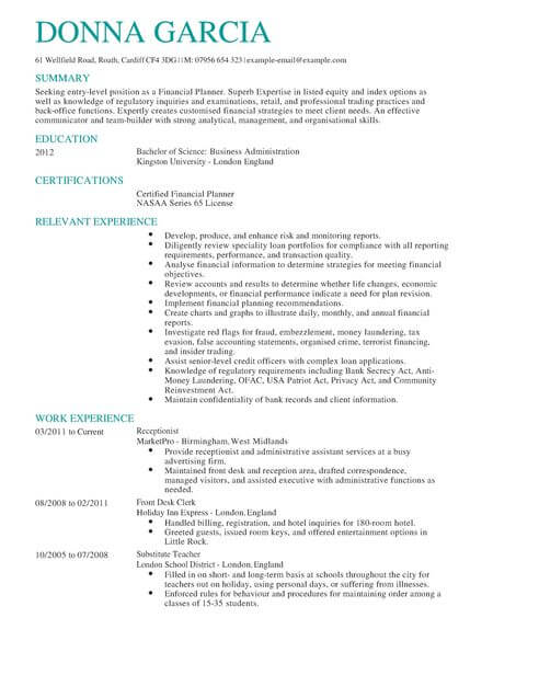 Certified Financial Planner CV Example LiveCareer - example resume uk
