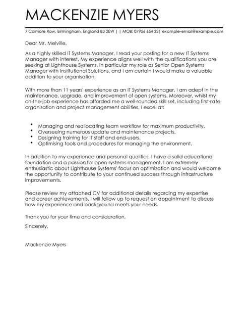 it cover letter - Onwebioinnovate - It Cover Letters