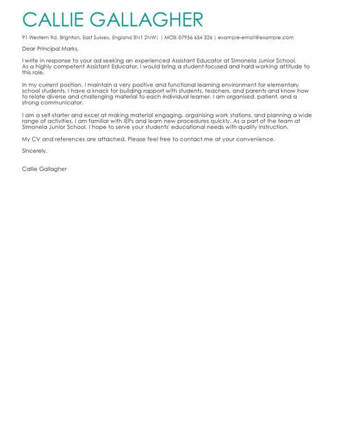 Education Cover Letter Examples  Templates LiveCareer