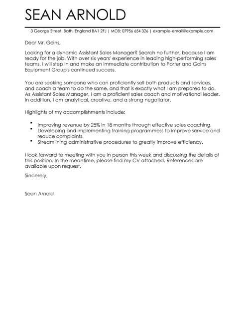 Sales Assistant Manager Cover Letter Template Cover Letter - sales cover letter template