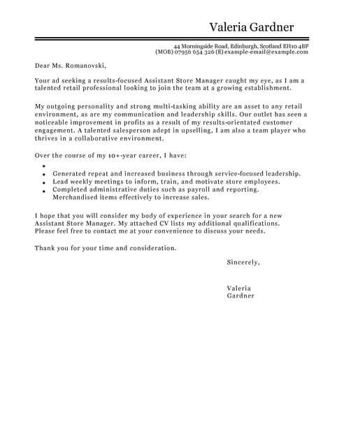 Assistant Store Manager Cover Letter Examples for Retail LiveCareer