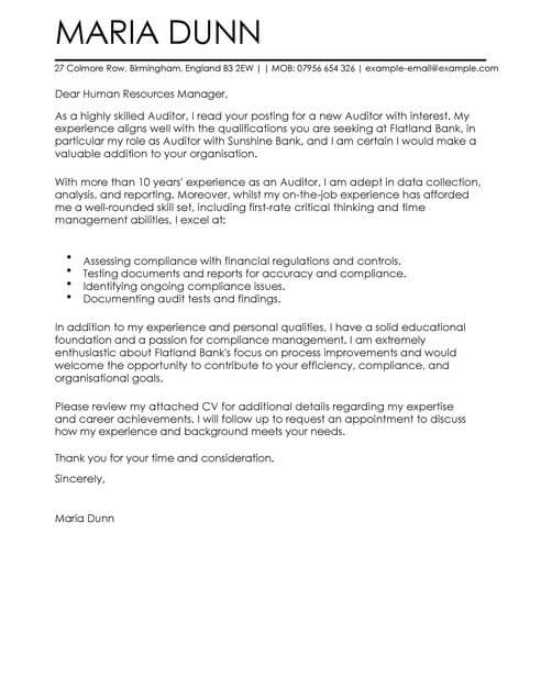 Auditor Cover Letter Template Cover Letter Templates  Examples
