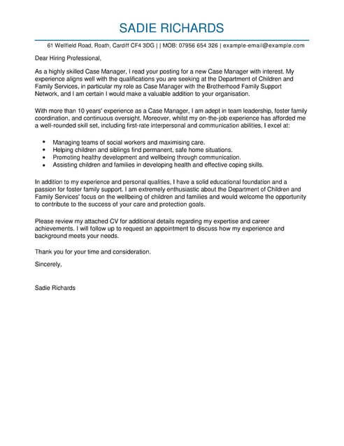 Case Manager Cover Letter Template Cover Letter Templates  Examples