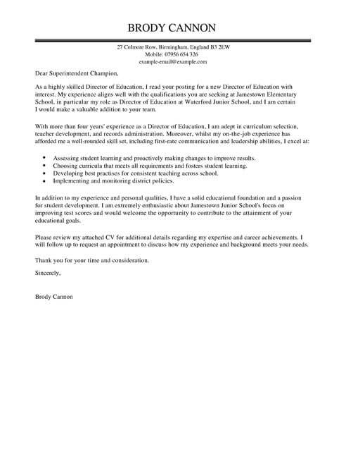 Director Cover Letter Examples for Education LiveCareer - education cover letters