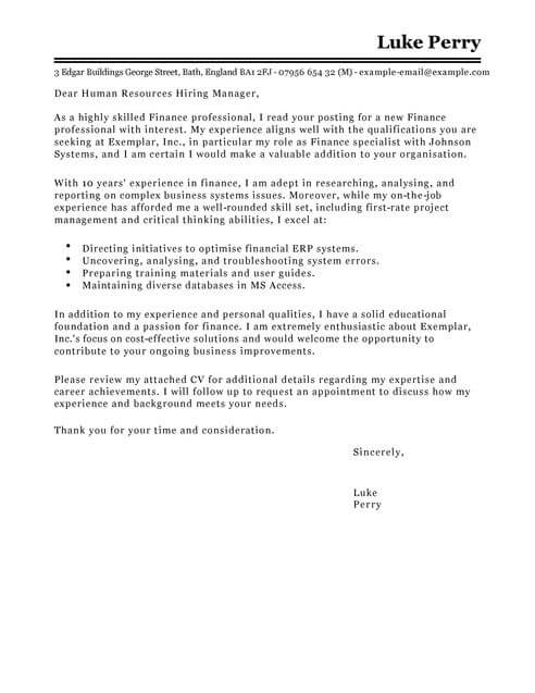 Accounting  Finance Cover Letter Templates Cover Letter Templates