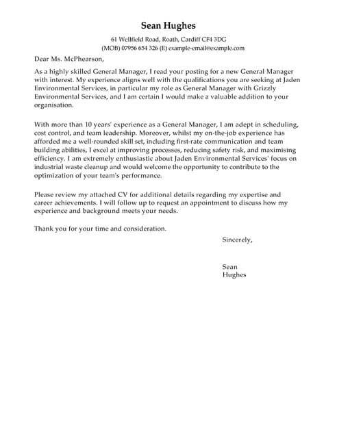 General Manager Cover Letter Template Cover Letter Templates