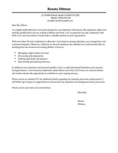 Legal Cover Letter Templates Cover Letter Templates  Examples