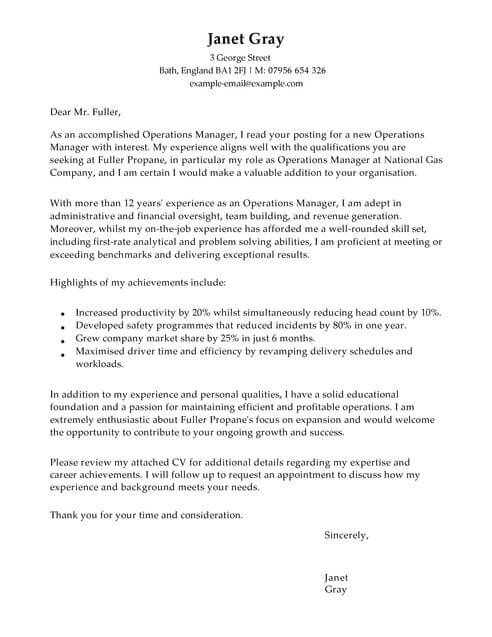 Operations Manager Cover Letter Template Cover Letter Templates