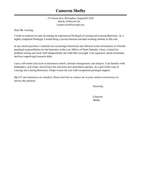 Paralegal Cover Letter Template Cover Letter Templates  Examples
