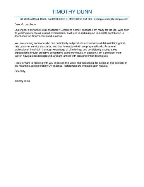 Retail Cover Letter Templates Cover Letter Templates  Examples